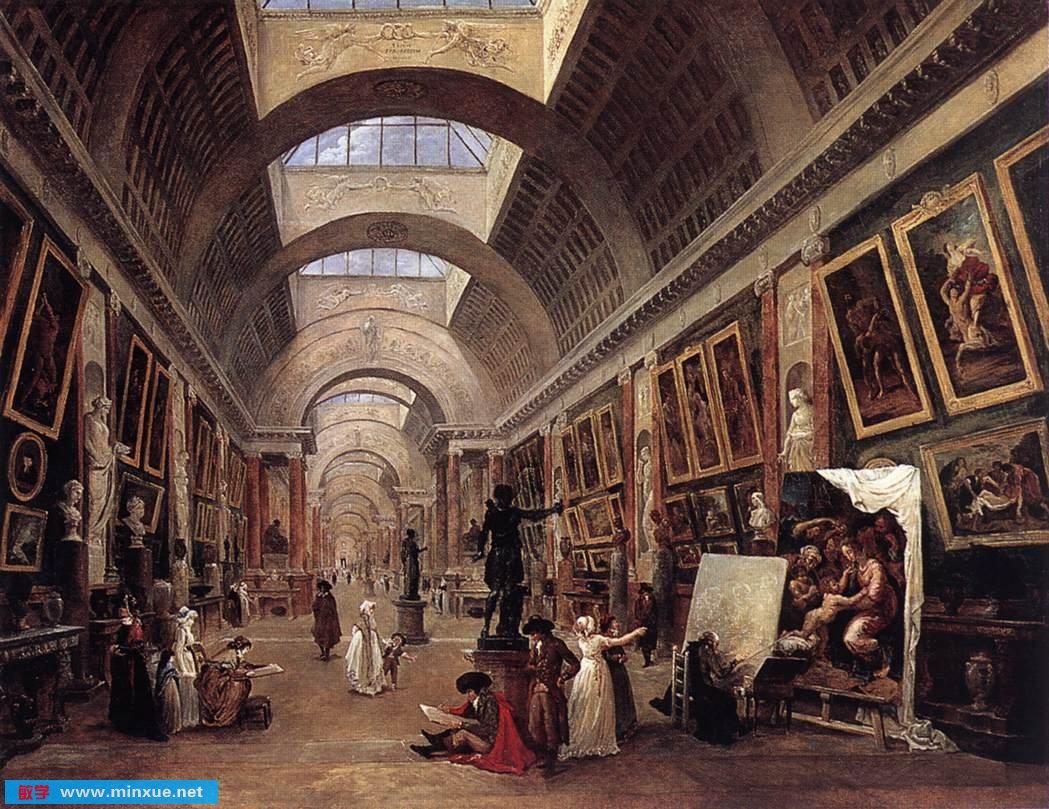 手绘卢浮宫建筑