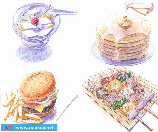 手绘美食插画_小清新手绘美食图