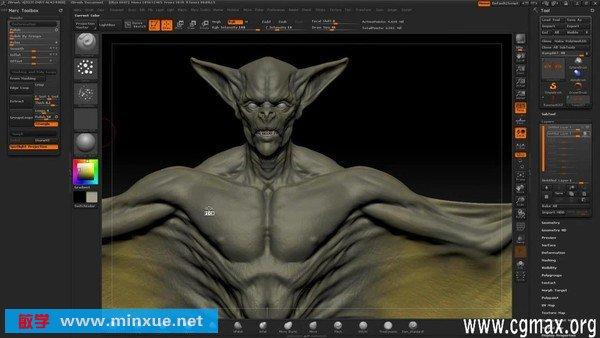 《zbrush 4 蝙蝠怪物雕刻贴图绘制教程》中文版