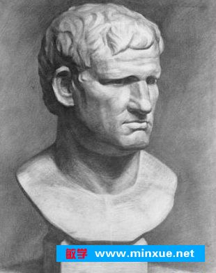内容:中青年男子头像或石膏头像写生   要求:马赛,荷马,塔头,罗马王