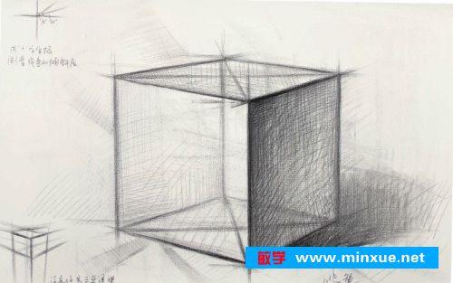 《素描石膏像正方体画法步骤》 _ 素描 _ 美术绘画