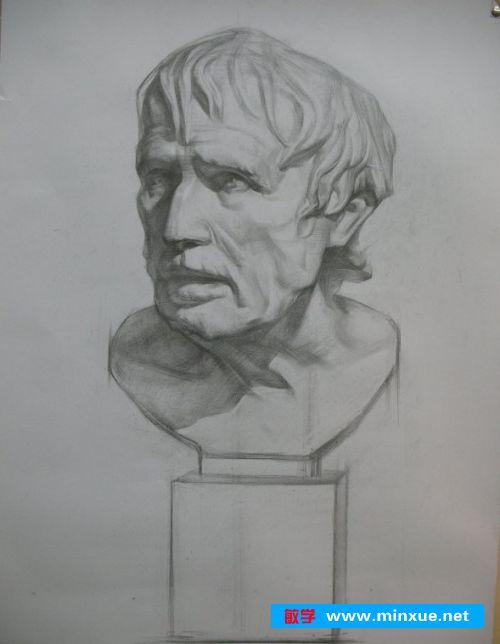 《海盗(阿里斯托芬)素描石膏头像写生步骤》