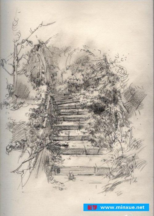 《铅笔素描风景画的技巧与方法》