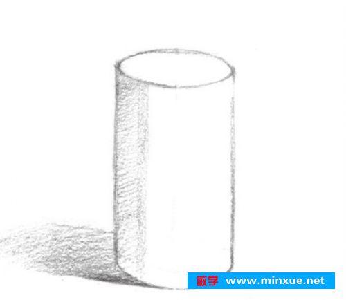 《素描入门教系列程:素描几何体圆柱体的画法步骤》