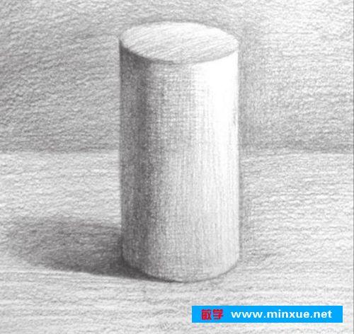 素描入门教系列程 素描几何体圆柱体的画法步骤图片