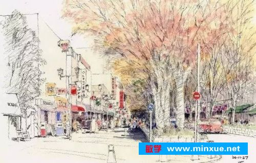 铅笔淡彩画小石桥学生作品分享展示