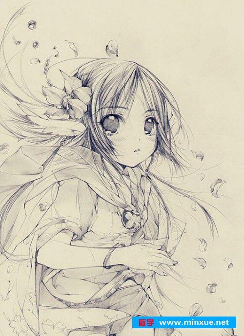 《漫画素描:漫画中的美少女二次元美少女!》