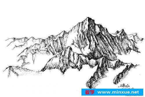 绘画步骤 第一步,画之前在脑中将所要画的山进行观察思考,然后在纸上