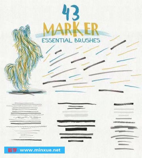 《150个AI手绘矢量铅笔素描蜡笔水粉水彩画笔笔刷大集合》