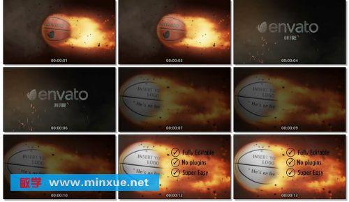 《燃烧的篮球火焰特效logo演示AE模板》